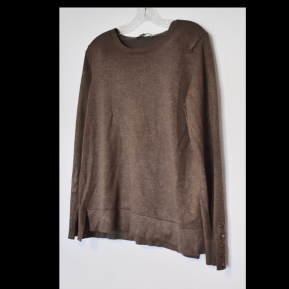 Larry Levine Sweaters - Larry Levine dark taupe long sleeve sweater B2